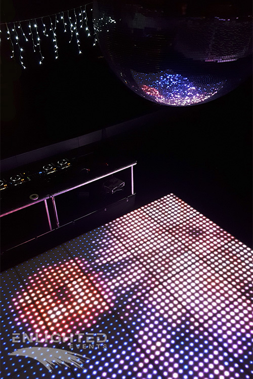 LED dance floor with mirrorball