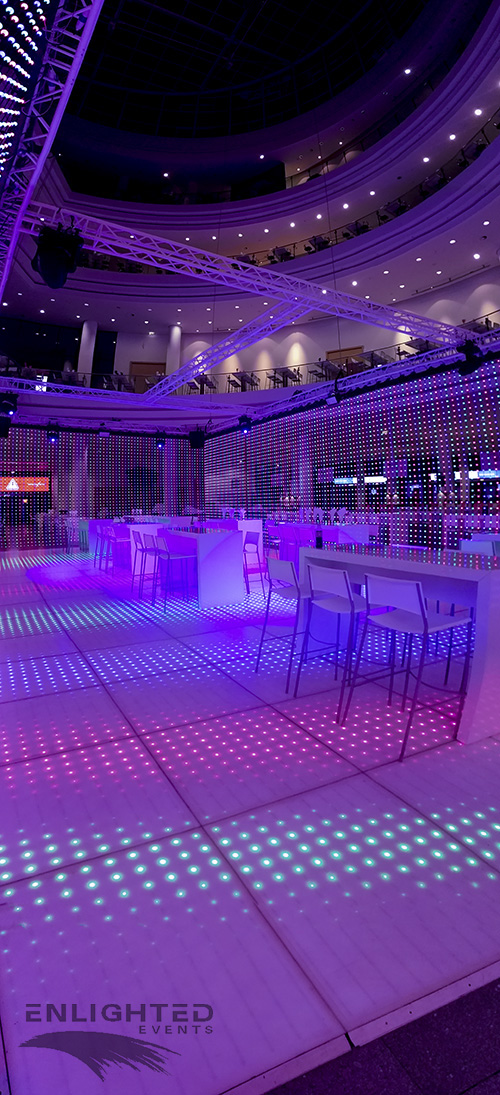 Dancefloor with seats and tables on it